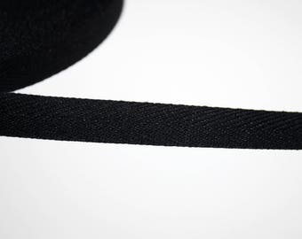 Ribbon 10 mm, black, 1 m Twill