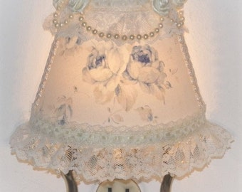 NEW Cottage Chic Style Lg Shabby Blue Roses NIGHT LIGHT Pearls and Lace Great Bridal Wedding Mother's Day Gift