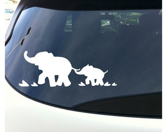 """Mother and Baby Elephants - White 8.75"""" Wide Window Bumper Sticker"""