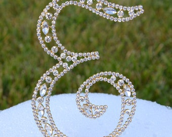 "Large 5""  Crystal Rhinestone Gold Cake Topper Letter ""E"" Monogram Wedding Birthday Party Top Initial CT087"
