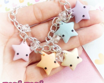 Pastel Rainbow Stars Charm Bracelet, Polymer Clay Charms, Fairy Kei Jewelry, Cute Kawaii Jewelry, Rainbow Bracelet, Kawaii Charms