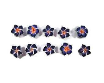 12 mm Polymer Clay Plumeria Flowers Set of 10 (MP15)