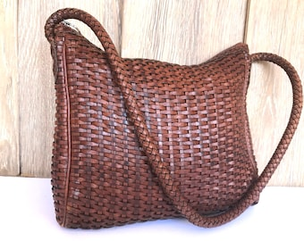 80's distressed woven brown leather shoulder bag, Vintage CEM slouchy leather purse brown weaves, hippie boho broen leather bag CEM