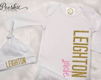Infant Gown, Coming Home Outfit, Pink and Gold Newborn Clothing, Newborn Layette, Glitter Gold Gown, Pink Gown, Custom Baby Gift P53