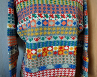 Vintage wool OILILY colorful sweater from 80's.