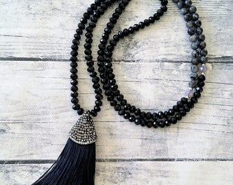 Silk Tassel Necklace, Beaded necklace, Gemstone necklace, Long labradorite crystal necklace, Rhinestone micropave tassel, Statement necklace
