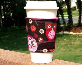 FREE SHIPPING UPGRADE with minimum -  Fabric coffee cozy / cup holder / coffee sleeve  / tea sleeve -- Happy bright owls on brown