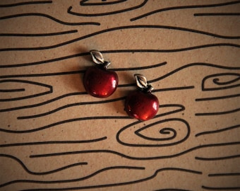 Red Apple with Silver Stem Stud Earrings!