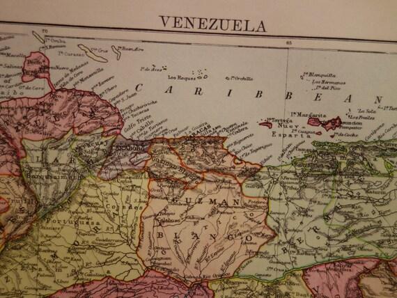 Venezuela antique map 1888 original old english print poster gumiabroncs Image collections