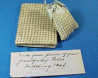 Antique Sewing Needle Case and Pin Cushion, With Note, Matching Silk, Early 1800's, Antique Textile