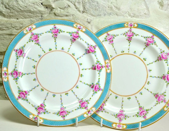 Minton China Plates x 2 - Persian Rose - English Bone China Decorative Plates Luncheon or Small Dinner Plates Pink and Blue Wedding Gift & Minton China Plates x 2 Persian Rose English Bone China