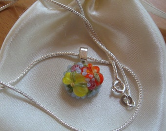 SALE, Pendant Necklace, Floral Necklace, Lavender, Flower Necklace, Lampwork Necklace, Orange Yellow, Lampwork Pendant, Flowers