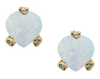 Simple Heart Shaped Opal Gemstone Diamond Earrings In White Rose Yellow Gold or Silver, October Birthstone Opal Jewelry, Opal Earrings