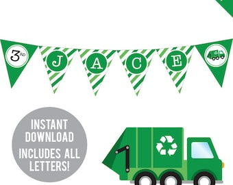 INSTANT DOWNLOAD Garbage Truck Party - DIY printable pennant banner - Includes all letters, plus ages 1-18