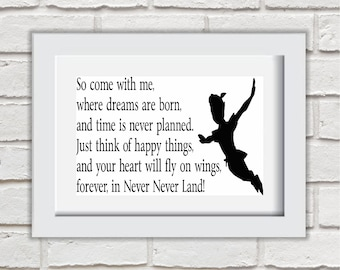 Forever In Neverland Framed Quote Print Mounted Word Art Wall Art Decor Typography Inspirational Quote Home Gift
