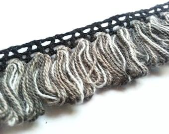 1 Metre 30 mm Tassel Trim Black Silver Grey Cushion Curtain Upholstery Lampshade