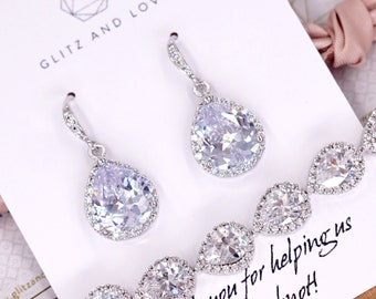 Luxe Cubic Zirconia Teardrop Silver Earrings bracelet necklace, gifts for her, Bridal Bridesmaids, weddings, jewelry Lelanie - e48 N62 b85