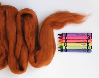 MERINO WOOL ROVING / Burnt Sienna 1 ounce / merino wool tops / fiber for needle felting, wet felting, nuno felting, doll hair, photography