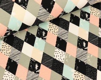 Lightweight Sweatshirt fabric diamonds apricot-coloured (15,50 EUR / meter)