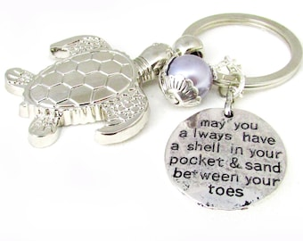 Sea Turtle Keychain, Turtle Keychain, Beach Keychain, Initial Keychain, Car Accessories, Quote Keychain, Personalized Gift, KY22