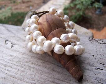 Pearl Bracelet    Large Freshwater Pearls   Earthy   Organic   Bridal Jewelry   Hand-Knotted   Boho Chic   Wedding   Bracelet Under 40