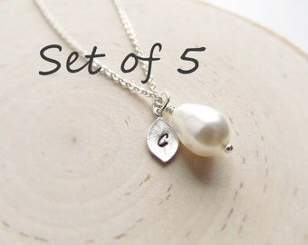 Bridesmaid Gift Set of 5, Silver Personalized Necklace, Teardrop Pearl with Initial Charm, Wedding Jewelry, Silver Pearl Jewelry, Bridal