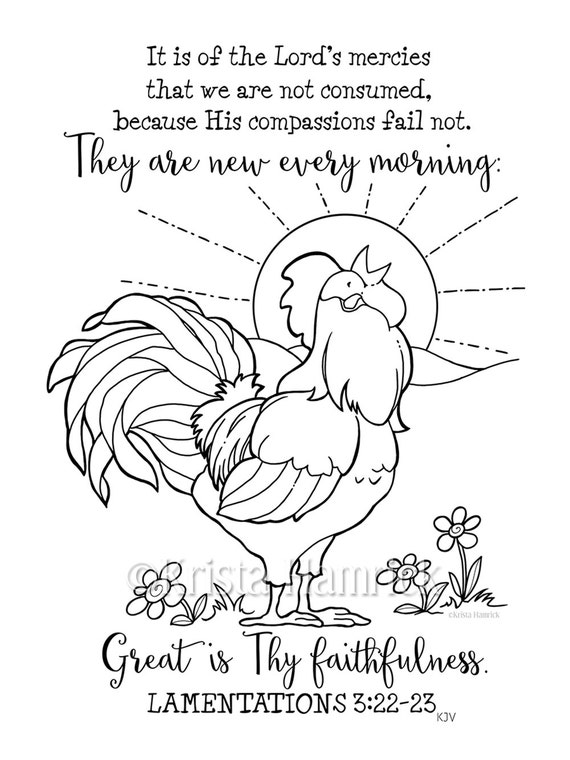 His Mercies are New Every Morning coloring page 8.5X11