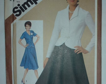 Vintage Simplicity Misses' Skirt and Unlined Fitted Jacket Pattern 9839.  Adjustable for Miss Petite  Size  12