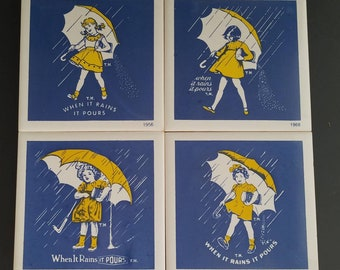 Vintage Morton Salt Logo Advertising Trivets/Plaques - Set of Four (4) Umbrella Girl, When It Rains It Pours Slogan 1914, 1921, 1956, 1968