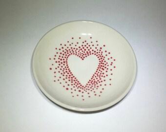Hearts and dots, shallow bowl