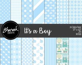 Its a boy digital paper-perfect for you baby shower-invitations-Scrapbook-Digital paper is child-perfect for baby shower