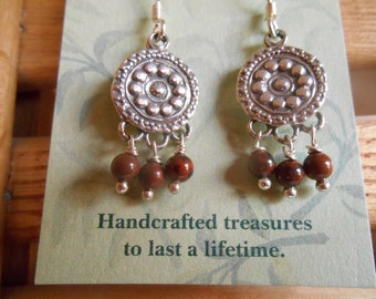 Mohogany Obsidian and Sterling Silver Dangle Earrings