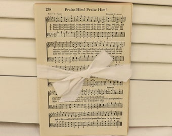 Old Christian Hymns Pages, Vintage paper, Cokesbury Worship Hymnal pages, Old Gospel Hymns Pages, Vintage Music Paper, Journal Ephemera