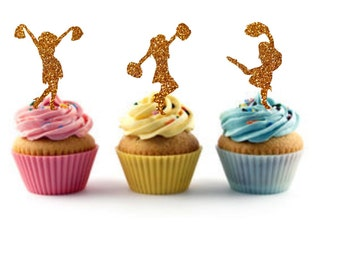 Cheerleader Birthday Cheerleader Cupcake Toppers Cheerleader Party Gifts Decor Cheer Cupcake Toppers Party Decor Girl's Cheer Birthday