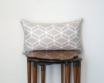 Graphic Trellis Print Lumbar Pillow Cover, in Beige + White