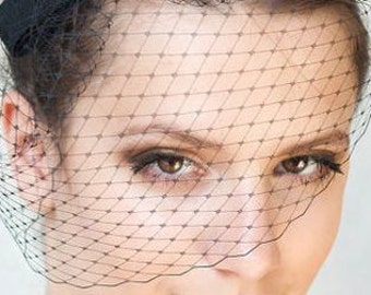 Wedding Birdcage Bandeau Blusher Veil, Black French Netting