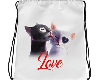 Cat Love drawstring bag - Cat gym bag - Cat sports bag - cat lover gift - Cat gift bag - Cat lover Bag - gift for cat lover