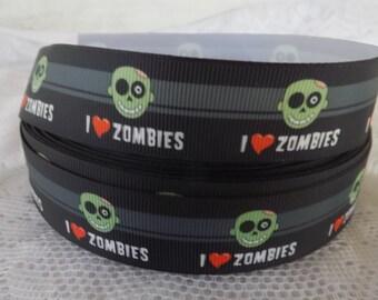 I Love Zombie Grosgrain Ribbon Love zombies ribbon 1 inch Green Zombie Ribbon