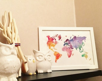 multicolor watercolor world map painting