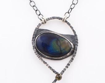 Spectrolite - Citrine - Sterling Silver - Hammered - Necklace