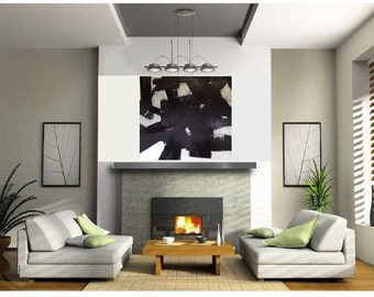 Large Abstract Black and White Painting