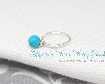 Mini hoop with Semi-Precious Gemstone Dangle, Cartilage Earring