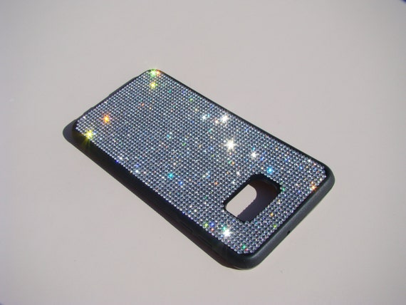 """Galaxy S6 """"Edge Plus"""" Clear Diamond Crystals on Black Rubber Case. Velvet/Silk Pouch Bag Included, Genuine Rangsee Crystal Cases."""