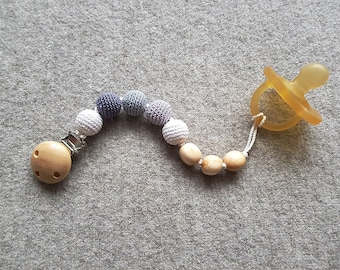 Pacifier Clip - Gray&White, Juniper Wood - Dummy Chain, Neutral Colors, teething Clip - PC17