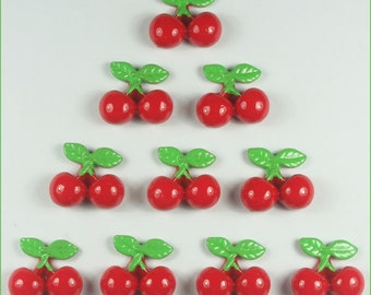 10pcs red Cherry fruit Resin Cabochons Flatbacks Flat Back Hair Bow Center Crafts Deco Embellishments DIY