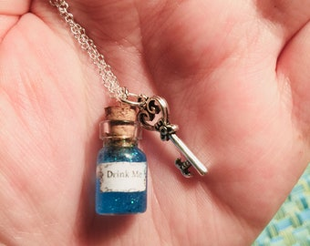 Drink Me Potion Alice in Wonderland Bottle Charm Necklace