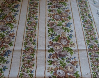 vintage French shabby chic fabric pieces brown roses
