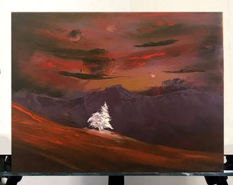 original acrylic painting, scifi landscape painting, scifi painting with mountains and planets, 11x14 painting, acrylics on canvas