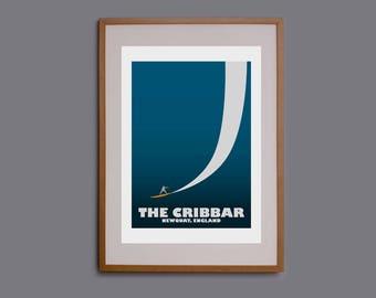 Surf art, surf print, surf gift, surf poster, surf decor, surf illustration, Cornwall, Cribbar, surfer, surfboard, Newquay, giclee, big wave