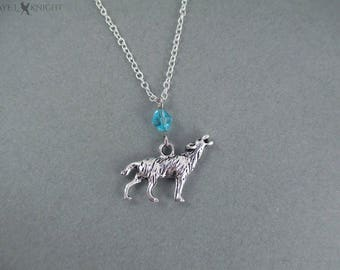 Silver Wolf Charm Necklace